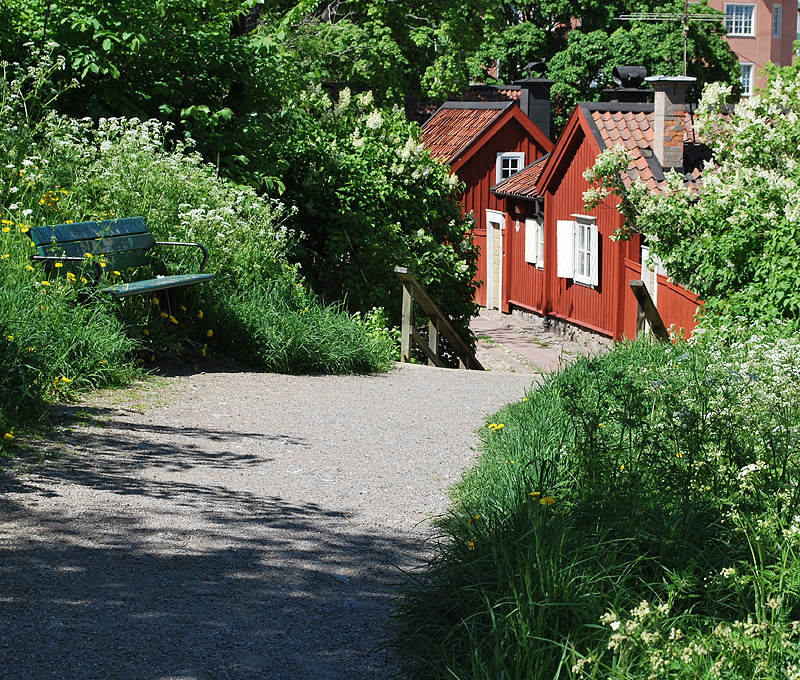 Beautiful garden at Langholmen in Stockholm