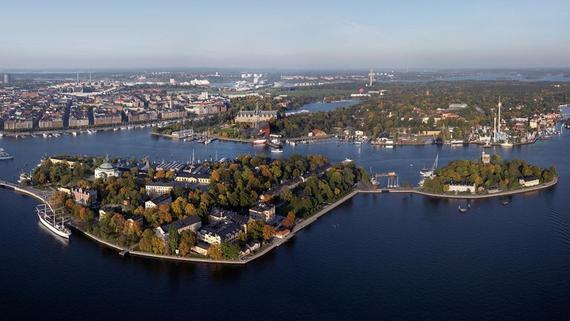 Stunning view of island of Skeppsholmen from a scooter